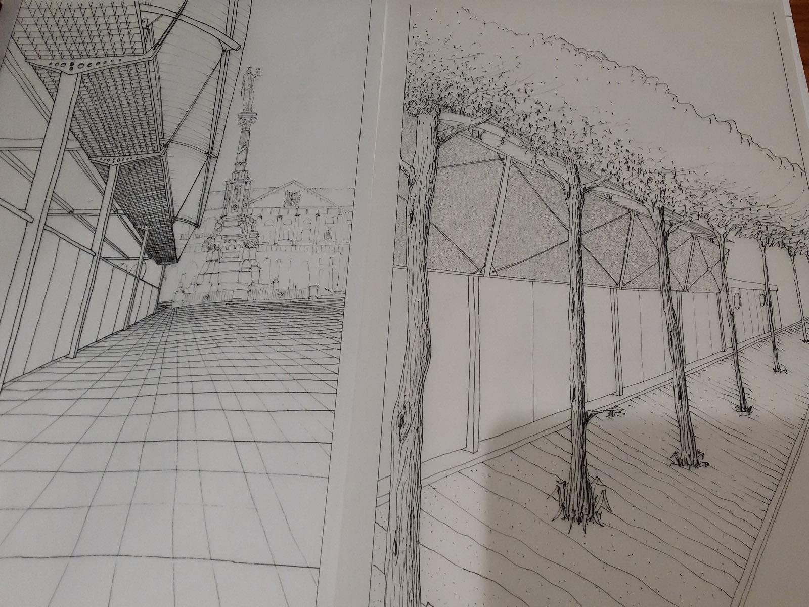 Dibujo de la estructura de Tombola de BLB Arquitectos