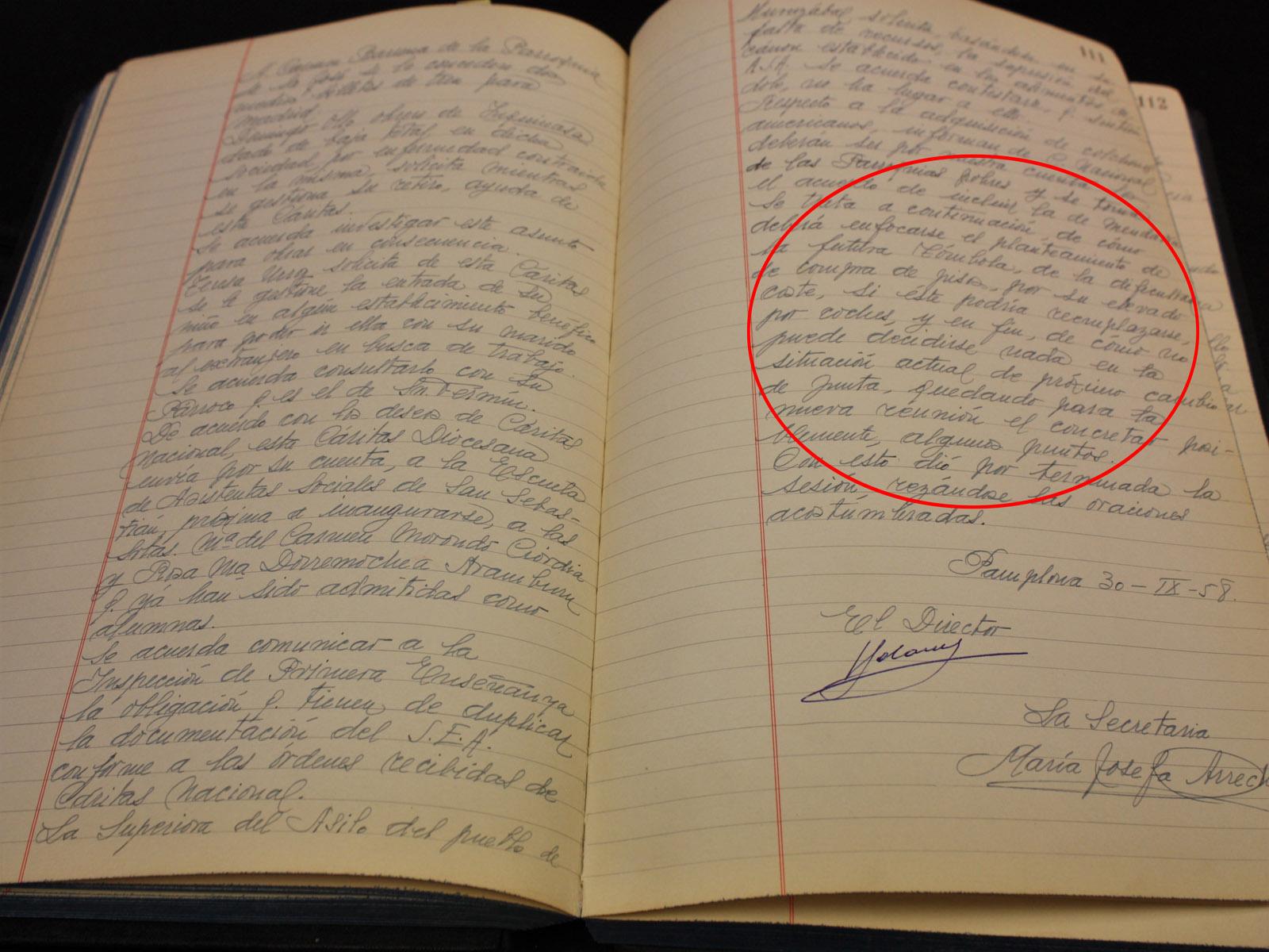 Libro actas. Cáritas 1958